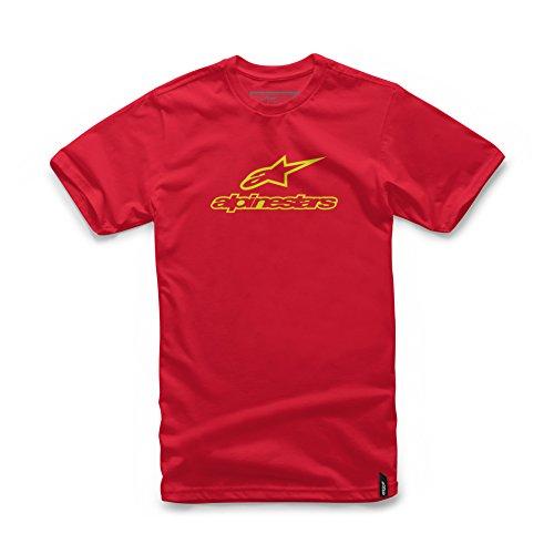 Alpinestars Men's Modern Fit Short Sleeves 146 GSM Logo T-Shirt, Always red/hi gh/vis Yellow, L