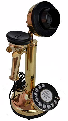 Antique Replica Candlestick Rotary Dial Functional Phone Full Brass Finish Telephone Model No.1013