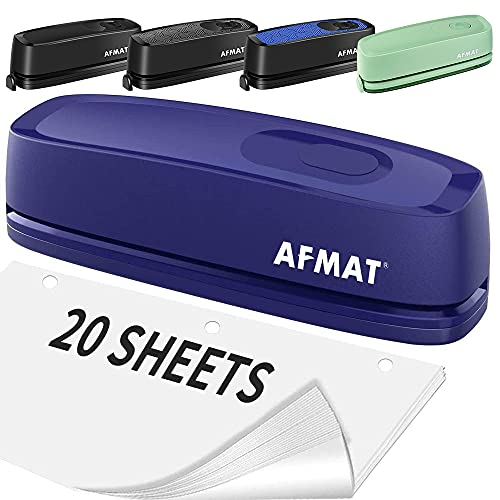 Electric 3 Hole Punch, AFMAT 3 Hole Punch Heavy Duty, 20-Sheet Punch Capacity, AC or Battery Operated Paper Puncher, Effortless Punching, Long Lasting Paper Punch for Office School Studio, Blue