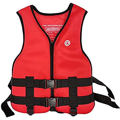 GLEYDY Chaleco Salvavidas Adulto, Chaleco De Ayuda a La Flotabilidad Ajustable Portátil Neopreno Chaleco De Flotabilidad Profesional para Nadar Pesca Surf Buceo Kayak,Rojo,S