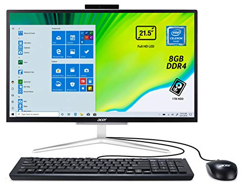 Acer Aspire C22-820 All in one con Processore Intel Celeron J4005D, RAM 8 GB DDR4, 1000 GB HDD, Display 21.5' FHD LED LCD, Scheda Grafica Intel UHD, Wireless Lan, Tastiera e Mouse USB, Windows 10 Home