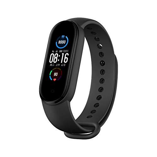 JXFF 2021 Nueva Banda 5 Pulsera Inteligente Pantalla de Color Ritmo cardíaco Rastreador de Fitness Impermeable Bluetooth 5.0 Deportes Smart Muñequera Hombres y Mujeres Smart Reloj Pulsera,A