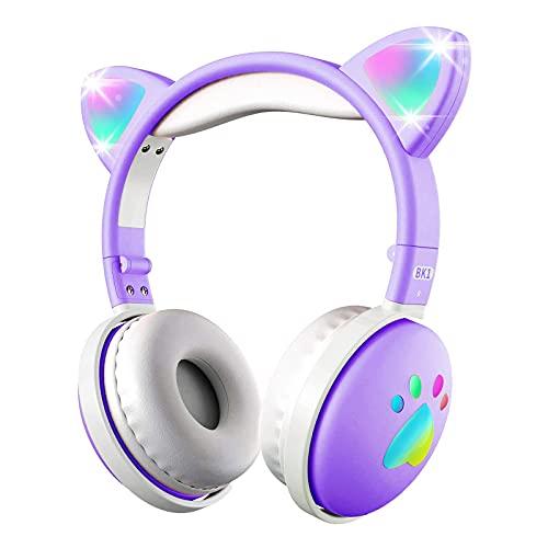 HC LIFE Audifonos inalámbricos Bluetooth, Auriculares para colocar sobre las orejas, Audifonos con forma de oreja de gato con luz LED,...