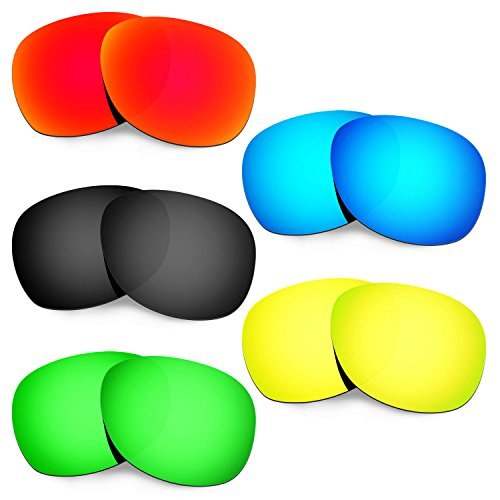 Hkuco Plus Mens Replacement Lenses For Ray-Ban Wayfarer RB2132 55mm Red/Blue/Black/24K Gold/Emerald Green Sunglasses
