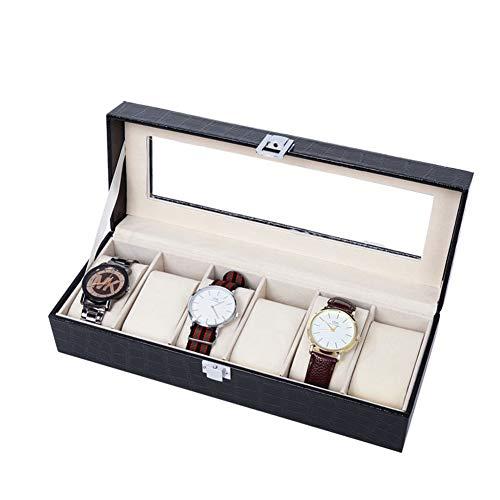 KLI 6-Slot Watch Display Aufbewahrungsbox Kunstleder-Außenmaterial & weiches Beflockungsfutter Interieur Metallverschluss Verschluss Showcase Organizer mit durchsichtigem Glasverschluss,Black