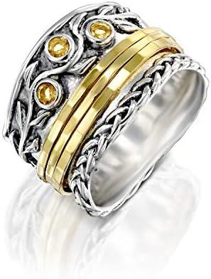 PZ Paz Creations 925 Sterling Silver Spinner Ring Citrine Gemstone November Birthstone 14k Gold product image