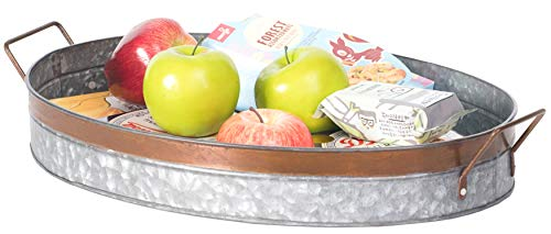 Galvanized Metal Oval Serving Tray with Handles, Small, Rustic Grey - Vintiquewise QI003485.S