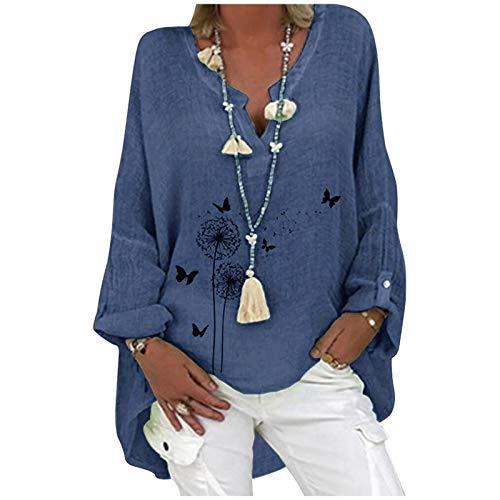 URIBAKY - Blusa de mujer con cuello en V de gran tamaño a la moda, estilo informal, elegante, de algodón y lino, de manga larga, C-Marina., 4X-Large