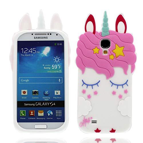 EarthNanLiuPowerTu Samsung Galaxy S4 I9500 Cacasa, Nuevos Animales de Dibujos Animados en 3D Lindos Estrellas io Silicona Blanda Anti-arañazos Funda para Samsung Galaxy S4, Blanco