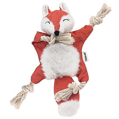 Fox Dog Toy with Squeaker, Stuffless Dog Toy Crinkle Hunting Dog Toy Plush Durable Dog Squeaky Toys Cotton Rope Dog Toy Throughout the Body Cute Dog Chew Toys for Puppies with Eyes Embroidery Design