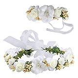 Surenhap Diadema de Flor, Guirnalda Floral Elegante Diadema de Flores Pulsera Garland para Bodas Festivales de Turismo Fotografía - Blanco