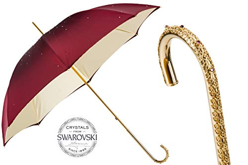 Best Price! Pasotti 184 Serge-17 U2 - Burgundy Swarovski Umbrella. Double Cloth