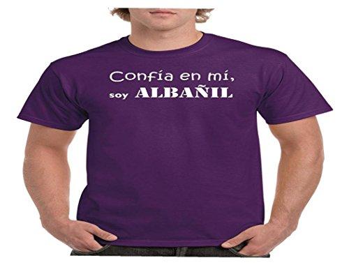 Camisetas divertidas Child confia en mi, Soy albañil - para Hombre Camisetas Talla XXL Color Lila