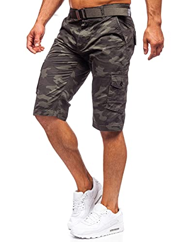 BOLF Hombre Pantalón Corto Cargo con Cinturón Camuflaje Shorts Bermudas Militar Básicos Pantalón de Algodón Deporte Outdoor Ocio Estilo Urbano ST692 Verde Oscuro L [7G7]
