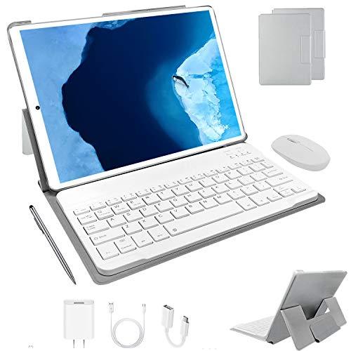 Tablet 10 Pollici 64 GB ROM + 4 GB RAM Android 9.0 Pie Tablets PC con Doppia SIM | 8000mAh | WiFi | GPS | Bluetooth | Type-C | Doppia Fotocamera (8MP+5MP) con Tastiera Bluetooth e Mouse (Argento)