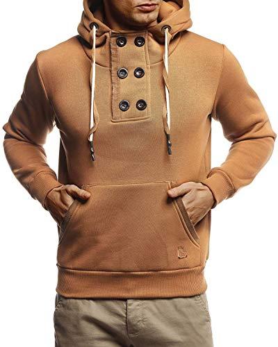 Leif Nelson Herren Hoodie Pullover mit Kapuze Kapuzenpullover für Männer Pulli Longsleeve Sweatshirt Langarm Slim Fit LN8280 Größe XL Camel