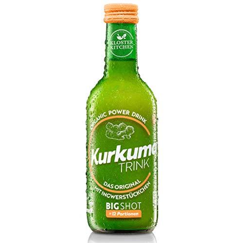 Kloster Kitchen KurkumaTRINK BIGSHOT 250 ml mit echten Ingwerstückchen I Bio Ingwer Shot vegan I 12 Shots je Glasflasche I Ingwershot süß-scharf ohne Zusatzstoffe & mit natürlicher Süße