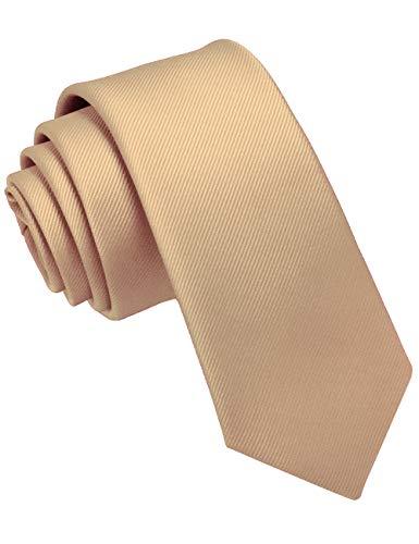 JEMYGINS Krawatte Gold schmale Krawatten für Herren seide Hochzeit Schlips (2)
