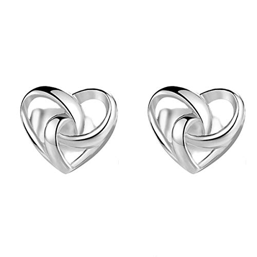 Beiswin Simple Love Heart Shape Stud Earrings 925 Sterling Silver Prevent Allergy Earrings for Jewelry Gifts Accessory