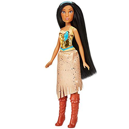 Hasbro F0904ES2 Disney Prinzessin Schimmerglanz Pocahontas Puppe, Modepuppe mit Rock und Accessoires, Spielzeug für Kinder ab 3 Jahren