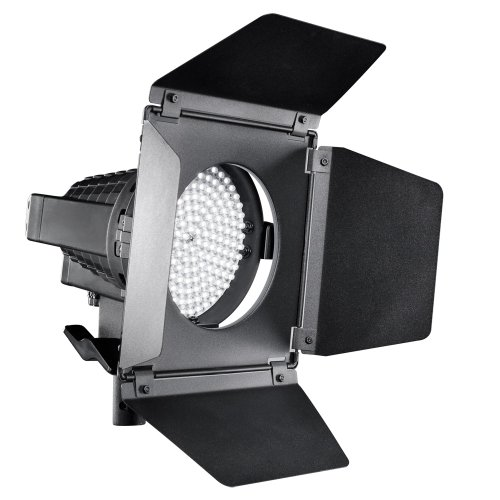 Walimex Pro LED Spotlight mit Abschirmklappen (Studioleuchte, Dimmbar, Daylight, 5600 Kelvin, Metallgehäuse)