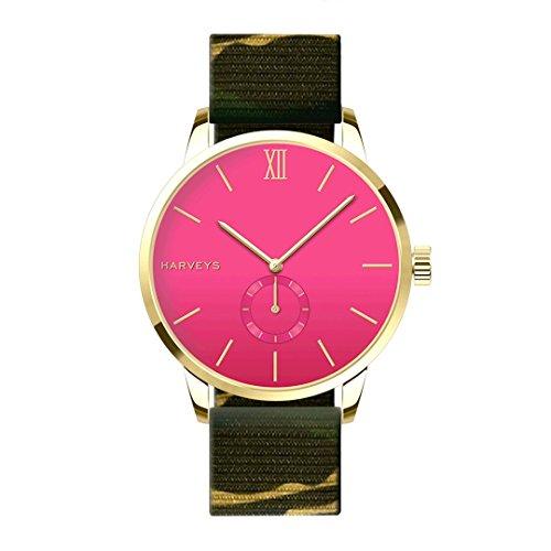 Reloj de Pulsera HARVEYS - Montecarlo Mabasa Army - Reloj Unisex - Esfera de Acero Inoxidable, Correa de Nylon, 5ATM