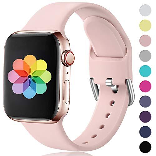 HUMENN Kompatibel mit Apple Watch Armband 38mm 40mm 42mm 44mm, Weiches Silikon Klassisch Sport Ersatzband für iWatch Series 5,4,3,2,1, 38mm/40mm-S/M Erröten Rosa