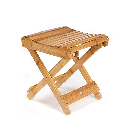 ETECHMART 12' Folding Bamboo Step Stool for Shower, Foot Rest and Leg Shaving, Fully Assembled Wooden Spa Bath Chair