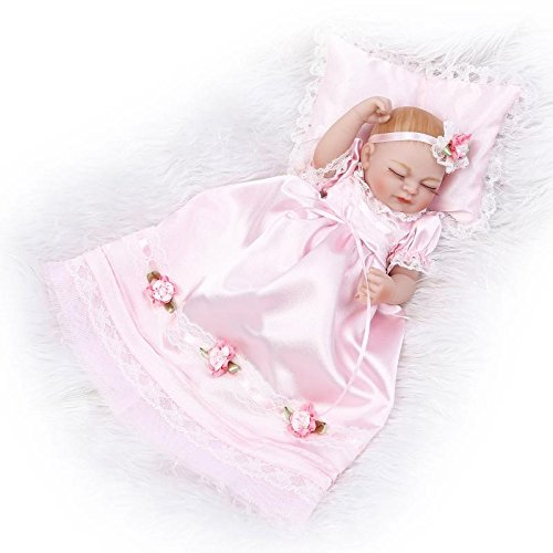 Nicery Reborn Baby Doll Réincarné bébé Poupée Doux Simulation Silicone Vinyle 10pouces 26cm Imperméable Garçon Fille Baigner Jouet Vif réaliste Âge 3+ Pink Dress Pillow Girl Eyes Close