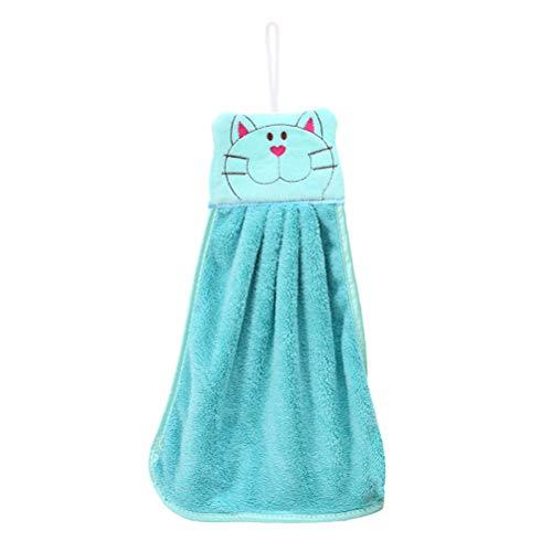 BESTOMZ Toalla de Mano de guardería Felpa de Dibujos Animados Gato Colgando Toallitas de baño Encantador (Color al Azar)