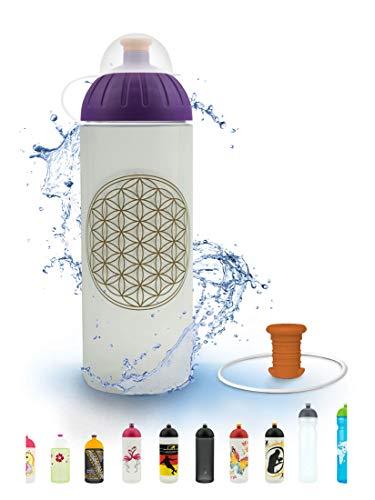 FreeWater Trinkflasche, 700ml, Blume des Lebens: schadstofffrei, spülmaschinengeeignet, auslaufsicher, langlebig