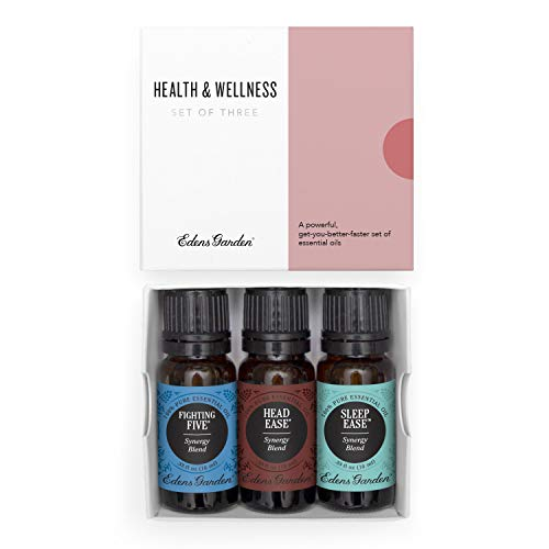 Edens Garden Health & Wellness Essential Oil 3 Set, Best 100% Pure Aromatherapy Family Kit (For Diffuser- Cold Flu & Detox), 10 ml