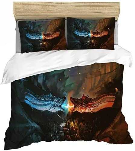 QWAS Juego de cama con funda nórdica estampada en 3D con cremallera, para niños y adolescentes (X02, 200 x 200 cm + 80 x 80 cm x 2)