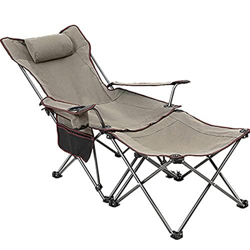 Silla de Camping al Aire Libre Multifuncional,Tumbona Plegable,Taburete de Camping portátil para la Pesca de Picnic de la Playa de césped,Tumbona reclinable,Soporte 150kg,Gris