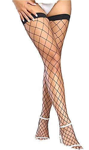 EROSPA® Grobnetz-Strümpfe schwarz halterlos Stockings - Damen Mädchen - OneSize