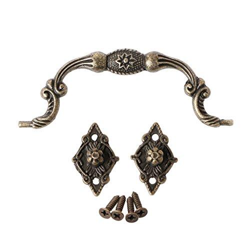 Bronze ton Fleur relief Style ancien Boite boite a bijoux en bois R TOOGOO