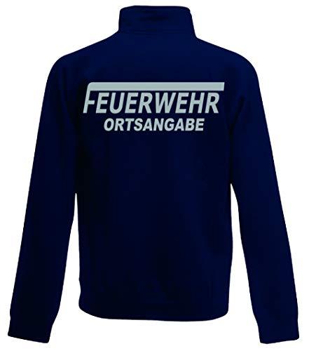 Feuerwehr Sweat-Jacke, Navy Blue, Bedruckt mit Neongelb oder reflexsilber (L, reflexsilber)