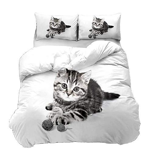 YHHAW Duvet Cover Sets,Cute pet cat pattern Print,Soft Microfiber duvet sets pillowcase,2 Pieces (1 Duvet Cover + 1 Pillow cases) Bedding Sets-135x200cm