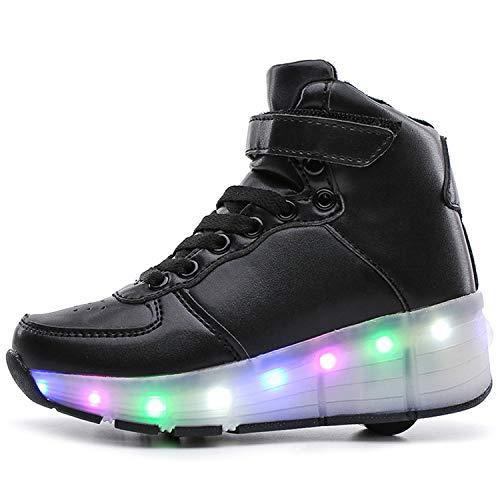 Scarpe da Skate, con Pattini a rotelle, Scarpe da Tennis a Rullo Illuminate Sneaker, per Ragazze Ragazzi Bambini - Scarpe con Ruota Singola per Bambini,Nero,37