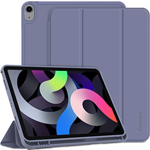 EasyAcc Hülle Kompatibel mit iPad Air 4 Generation 10.9 2020 Mit Stifthalter, Ultra Dünn mit Standfunktion Slim PU Leder Schutzhülle, Taro lila