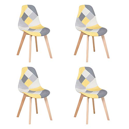 Uderkiny Juego de 4 sillas Silla de Comedor de Retazos Silla de Estilo nórdico para Cocina Comedor Sala de Estar y Restaurante (Amarillo)