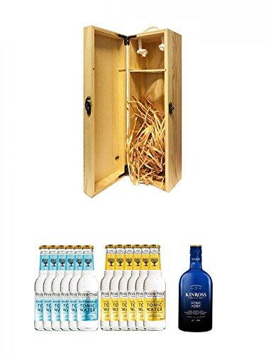 1a Whisky Holzbox für 1 Flasche mit Hakenverschluss + Fever Tree Mediterranean Tonic Water 6 x 0,2 Liter + Fever Tree Tonic Water 6 x 0,2 Liter + Kinross Gin Citric & Dry 0,7 Liter