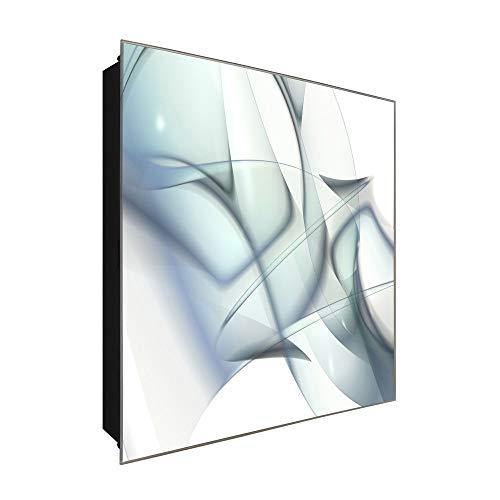 DekoGlas Schlüsselkasten \'Moderne Grafik\' 30x30 Glas, inkl. Haken Schlüsselbrett Schlüssel-Box Design Aufbewahrung