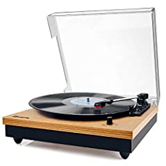 "Vintage is back on the Stage: Solid wood construction in retro design, sleek and classic; All In One Turntable: 3 speed 33, 45 & 78 RPM for 7"", 10"" & 12"" vinyl records, 45RPM adaptor included; 2 Built-in Full Range Stereo Speakers: Produce crisp and ..."