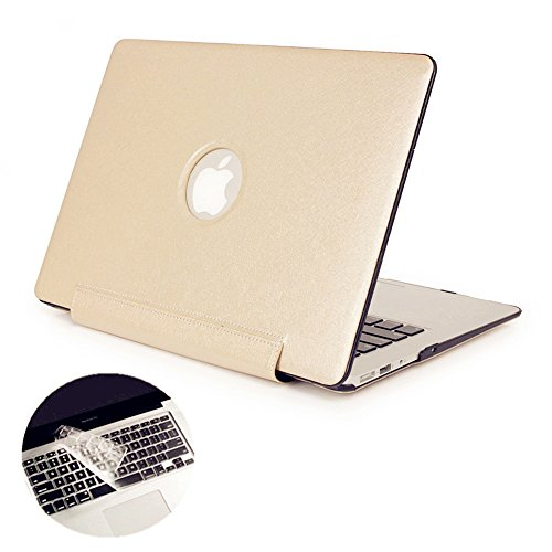 Se7enline MacBook Pro A1278 Case, High-end Premium Silky PU Leather Coated Plastic Hard Shell Folio Siamesed Case Cover for MacBook Pro 13.3' Logo Cutout with Clear Keyboard Skin, Champagne Gold