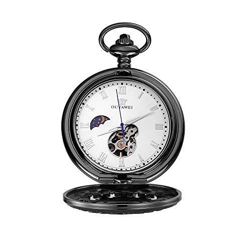 Lwieui Reloj de Bolsillo Reloj de Bolsillo mecánico Retro for Hombre, Caja de números Romanos con Cadena (Color : Black Shell White Surface)