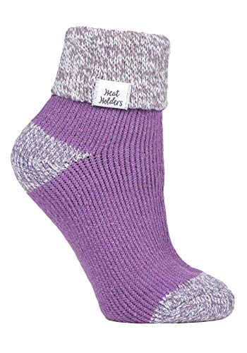 HEAT HOLDERS - Damen Fleece Flauschig Gestreift Thermo Kuschelsocken (37/42, Lilac (S Rib))