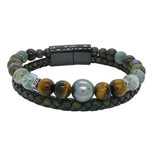 Passion Ojo de tigre: Pulsera para hombre, piedras naturales y perla de Tahití BRTAH8557-Medianj: 19 cm