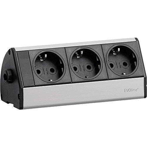 EVOline 93000403 stekkerdoos zonder schakelaar zwart/zilver geaard contact