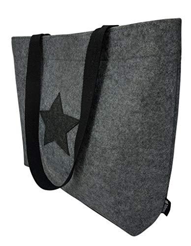 Tebewo Shopping-Bag aus Filz, große magnetisch verschließbare Einkaufs-Tasche mit Henkel und 2 Innentaschen, Einkaufskorb, vielseitige Faltbare Tragetasche, grau mit Stern